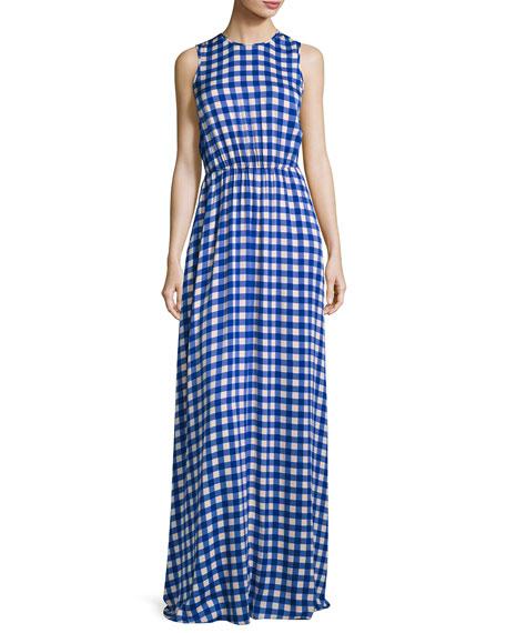 Diane von Furstenberg Check-Print Sleeveless Cinched-Waist Maxi