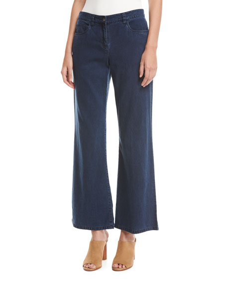 Eileen Fisher Tencel?? Denim Wide-Leg Pants, Midnight