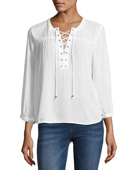 Alya Deep Split-Neck Top, White