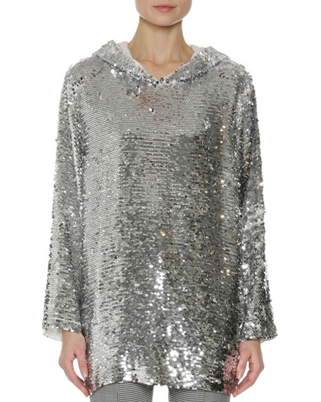 MSGM Sequin Long-Sleeve Hoodie Top, Silver
