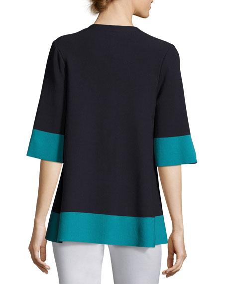 Colorblock Matte Crepe Zip Top, Blue-Green