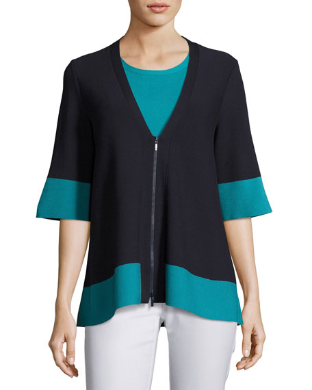 Lafayette 148 New York Colorblock Matte Crepe Zip