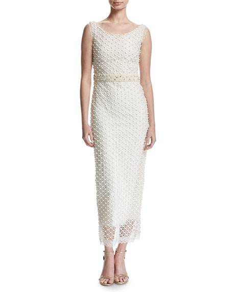 Sleeveless Netted Beaded Midi Gown, Ivory