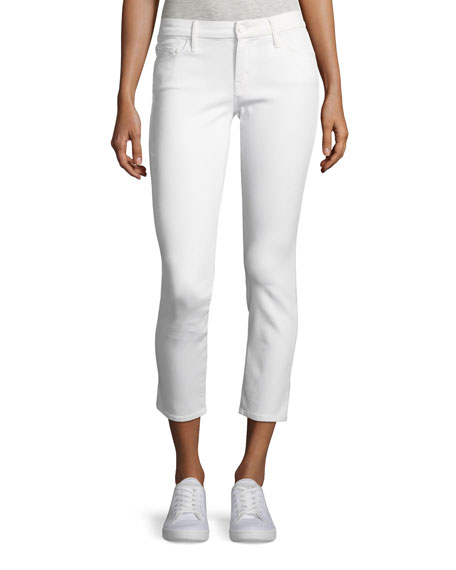 MOTHER Looker Glass Slipper Crop Jeans, White