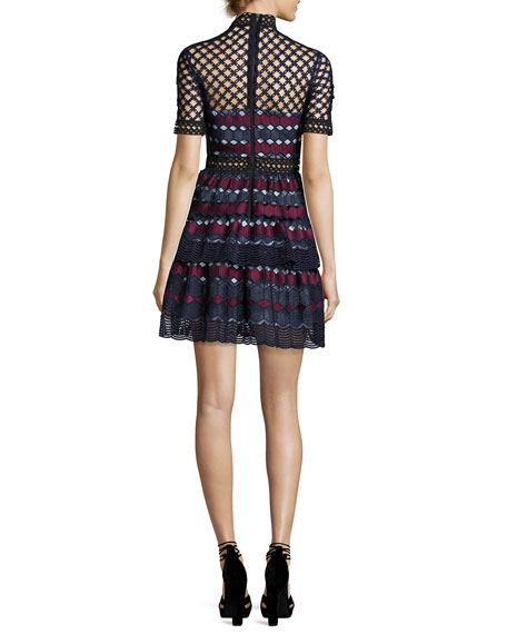 Hexagon Lace Mini Dress, Multi