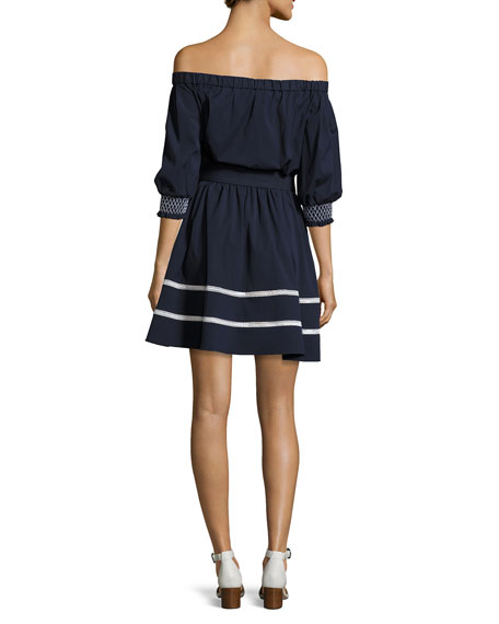 Brittany Off-the-Shoulder Cotton Voile Dress, Navy