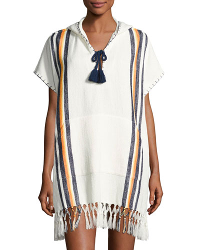 Windwell Beach Hooded Fringed Poncho Coverup, White