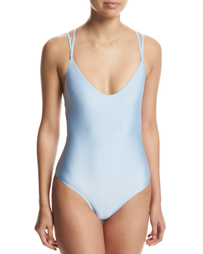 Strappy-Back Solid One-Piece Swimsuit, Blue