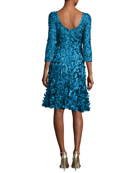 3/4-Sleeve 3D Petal Cocktail Dress, Kingfisher Blue