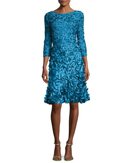 3/4-Sleeve 3D Petal Cocktail Dress, Kingfisher Blue