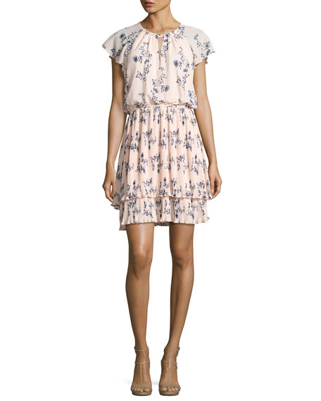 Shoshanna Ebony Floral Chiffon Blouson Dress, Pink