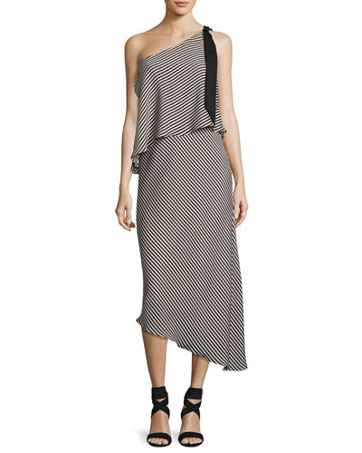 Striped One-Shoulder Asymmetric Cocktail Dress, Black/White