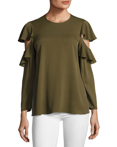 Halston Heritage Long-Sleeve Ruffle-Sleeve Georgette Top