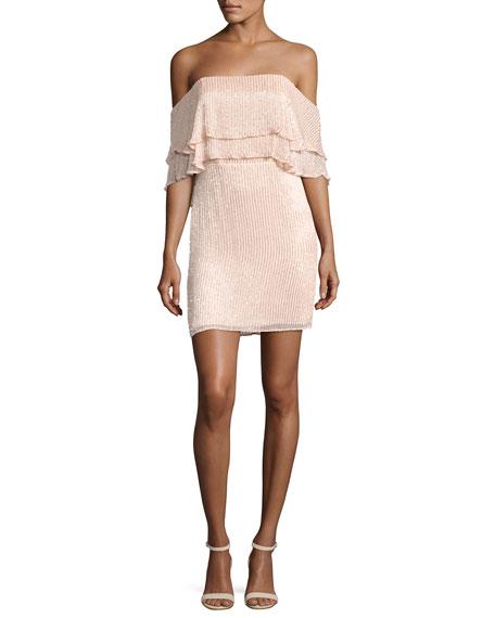 Parker Black Keria Tiered Lace Cocktail Dress, Blush