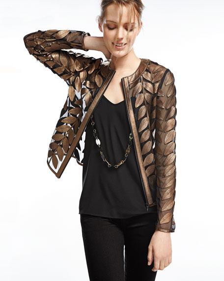 Metallic Leather Leaf & Mesh Combo Jacket