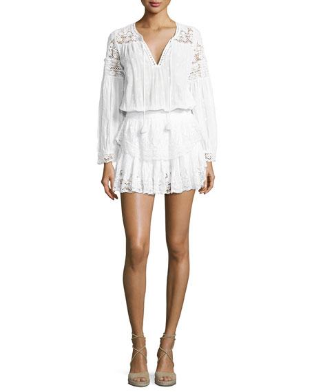 Loveshackfancy Prairie Popover Crocheted Dress, White