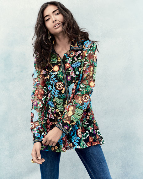 Inez Embroidered Lace Easy Shirt, Plus Size