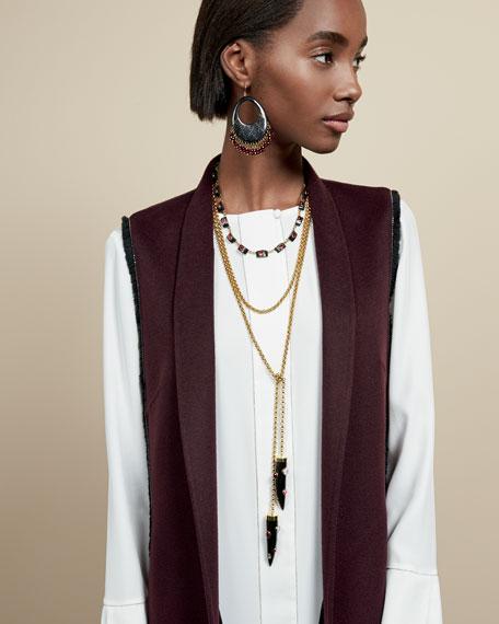 Luxury Chain-Trim Double-Face Cashmere Vest