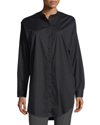 Mandarin-Collar Stretch-Lawn Button-Front Shirt