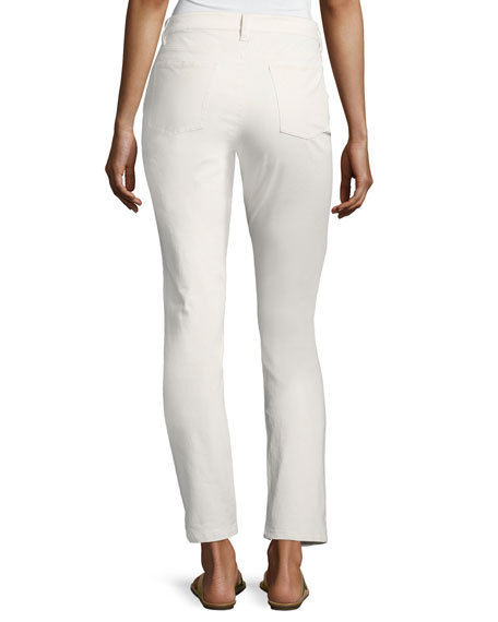 Sueded Organic Stretch-Sateen Skinny Jeans, White