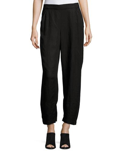 Linen-Blend Lantern Ankle Pants, Plus Size