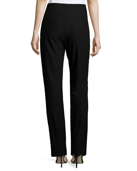 Stretch Crepe Boot-Cut Pants, Plus Size