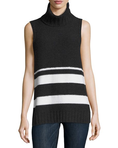 Neiman Marcus Cashmere Collection Cashmere Chain-Trim Striped