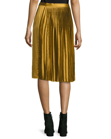 Gamil Pleated Sateen Silk Midi Skirt, Brown