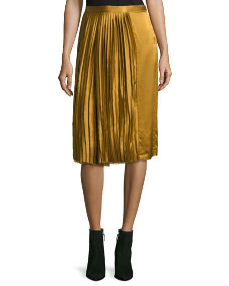 Public School Gamil Pleated Sateen Silk Midi Skirt,