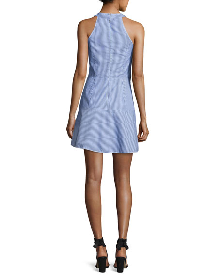 Lauralie Striped Combo Dress, Blue-White