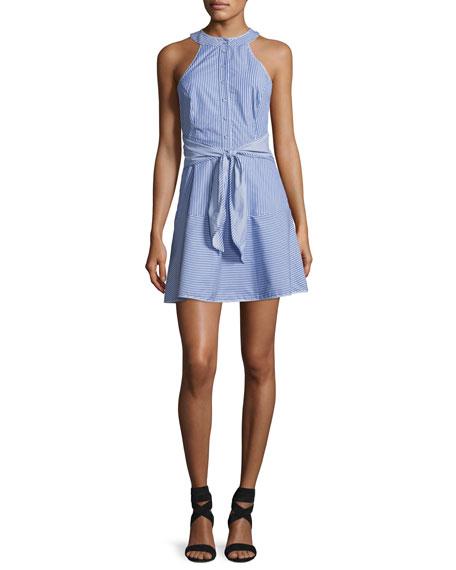 Parker Lauralie Striped Combo Dress, Blue-White
