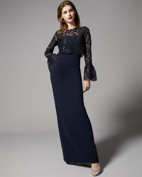 Long Bell-Sleeve Sequined Lace Popover Gown, Blue