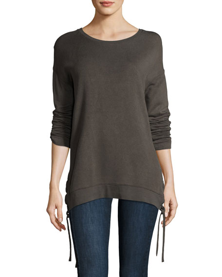 Majestic Paris for Neiman Marcus Lace-Up Side Sweatshirt