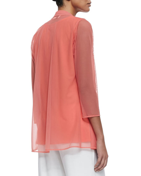 3/4-Sleeve Illusion Sheer Cardigan, Plus Size