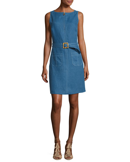 Tory Burch Nadia Sleeveless Zip-Front Belted Linen Dress,