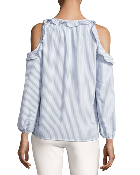 Jayden Cold-Shoulder Striped Poplin Top, Blue Multi