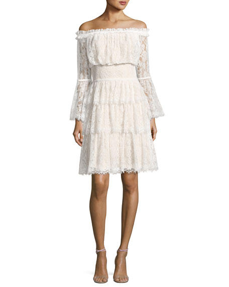 Off-the-Shoulder Tiered Lace Cocktail Dress, Ivory/Petal