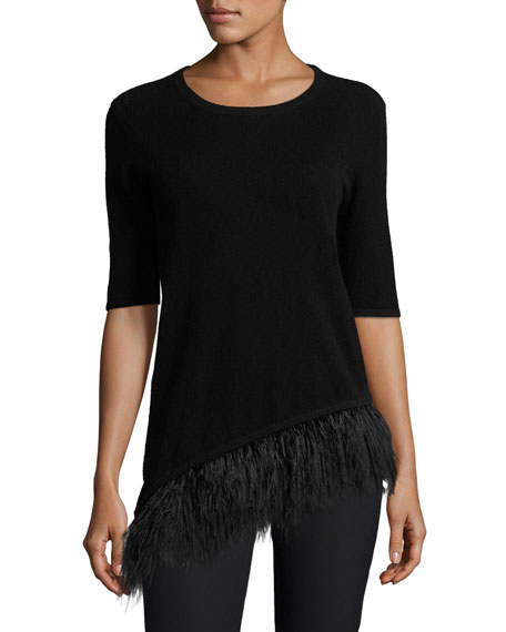 Neiman Marcus Cashmere Collection Cashmere Half-Sleeve