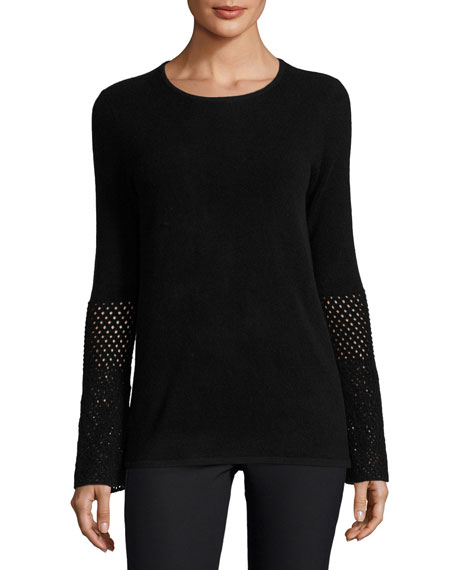 Neiman Marcus Cashmere Collection Cashmere Crochet-Sleeve