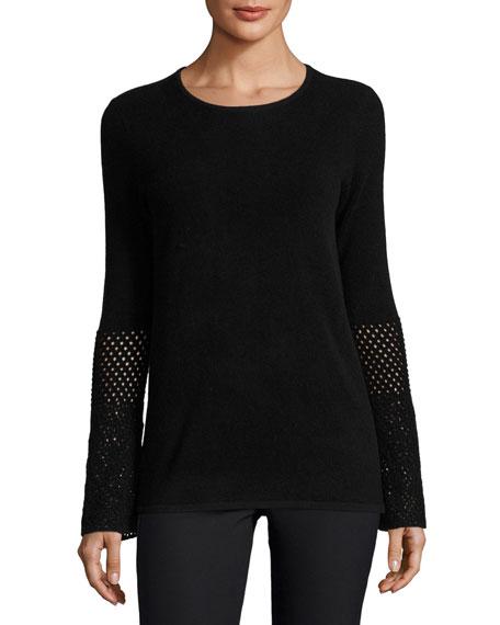 Cashmere Crochet-Sleeve Crewneck Sweater, Black