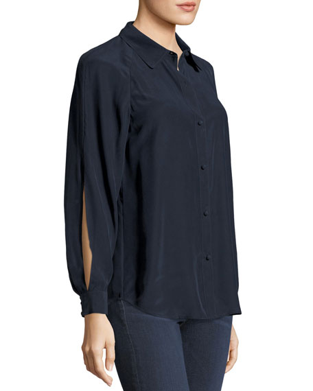 FRAME Slit Sleeve Silk Blouse, Navy