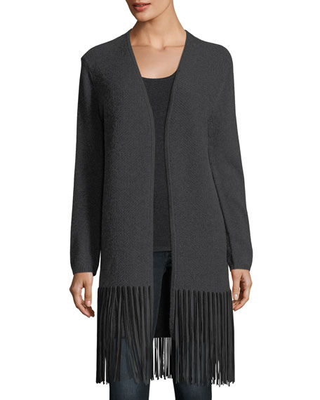 Neiman Marcus Cashmere Collection Long Cashmere Cardigan w/