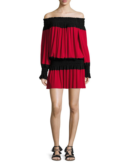 Spliced Peasant Jersey Dress, Red