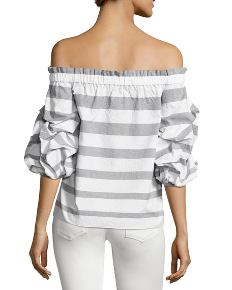 Juneau Wide-Stripe Off-the-Shoulder Top, Blue/White