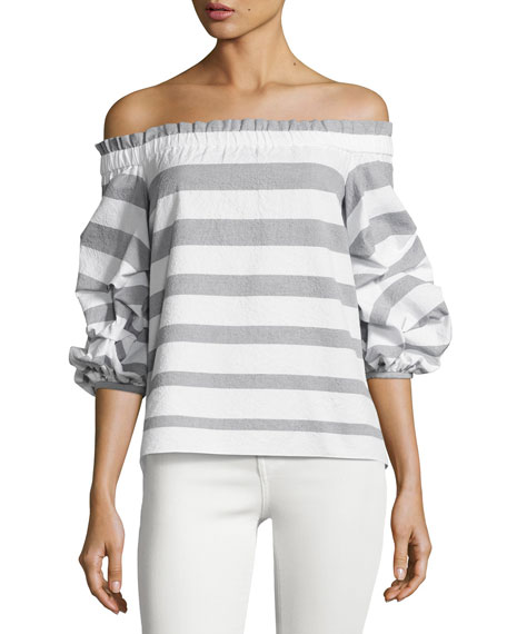 Alexis Juneau Wide-Stripe Off-the-Shoulder Top, Blue/White