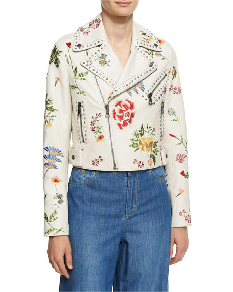 Alice + Olivia Cody Embroidered Studded Leather Jacket,