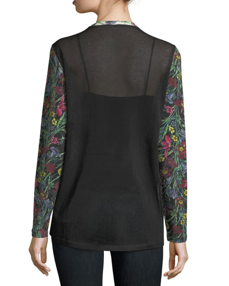 Floral-Print Cashmere Cardigan w/ Solid Sheer Back