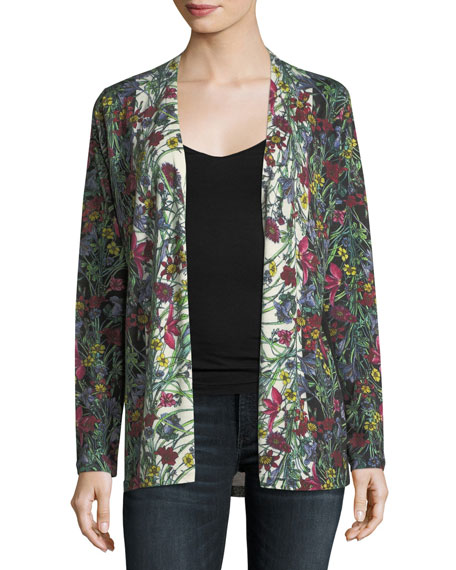 Neiman Marcus Cashmere Collection Floral-Print Cashmere Cardigan