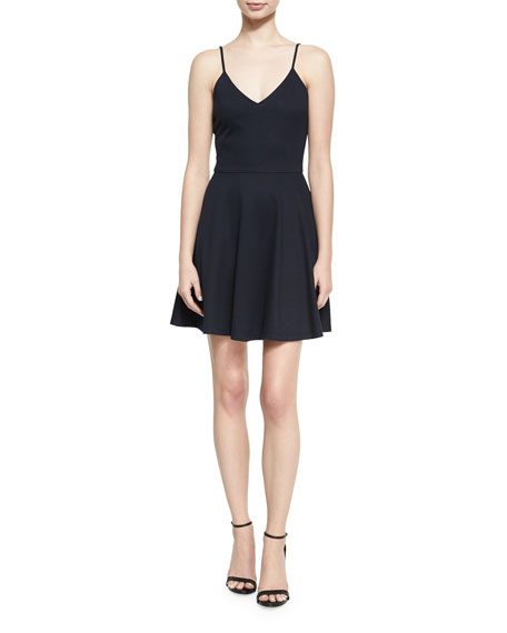 Alice + Olivia Alves V-Neck Flared Mini Dress,