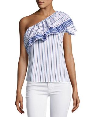 be727da2 Parker Mary Asymmetric Striped Cotton Top, Blue Pink Multi